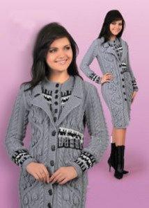 Вяжем стильное пальто спицами